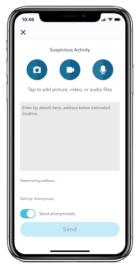 Livesafe app phone example of suspicious activity reporting