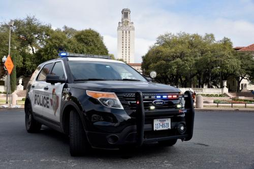UTPD Car in front of tower